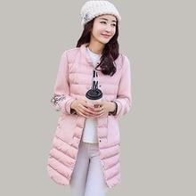 Cotton Padded Jackets Women Stand Collar 2016 New Long Wool Stitching Long-sleeved Jacket Winter Fashion Print Parka JA572