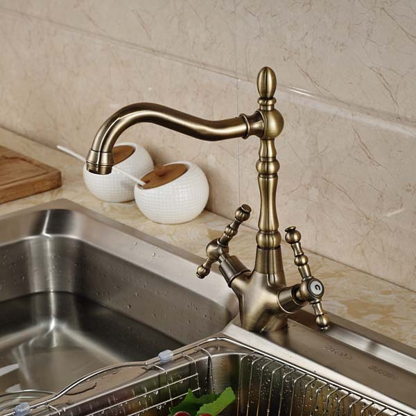 Double Handle Kitchen Faucet Swivel Spout Vessel Sink Mixer Tap Antique Bronze Deck Mounted golden brass kitchen faucet dual handles vessel sink mixer tap swivel spout w pure water tap