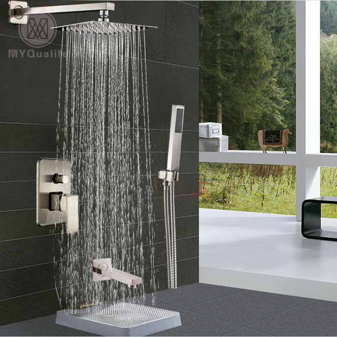 Stainless Steel 10  Shower Head Wall Mount Rain Bath Shower Mixer Faucet with Handheld Shower Brushed Nickel Finish