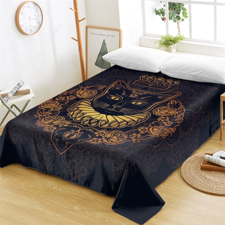 Kids Queen Bed Us 17 40 Off Beddingoutlet Cat Queen Bed Sheets Royal Cat Cartoon Flat Sheet For Kids Adults Pet Printed Bed Linen Floral Orange Bedspreads In