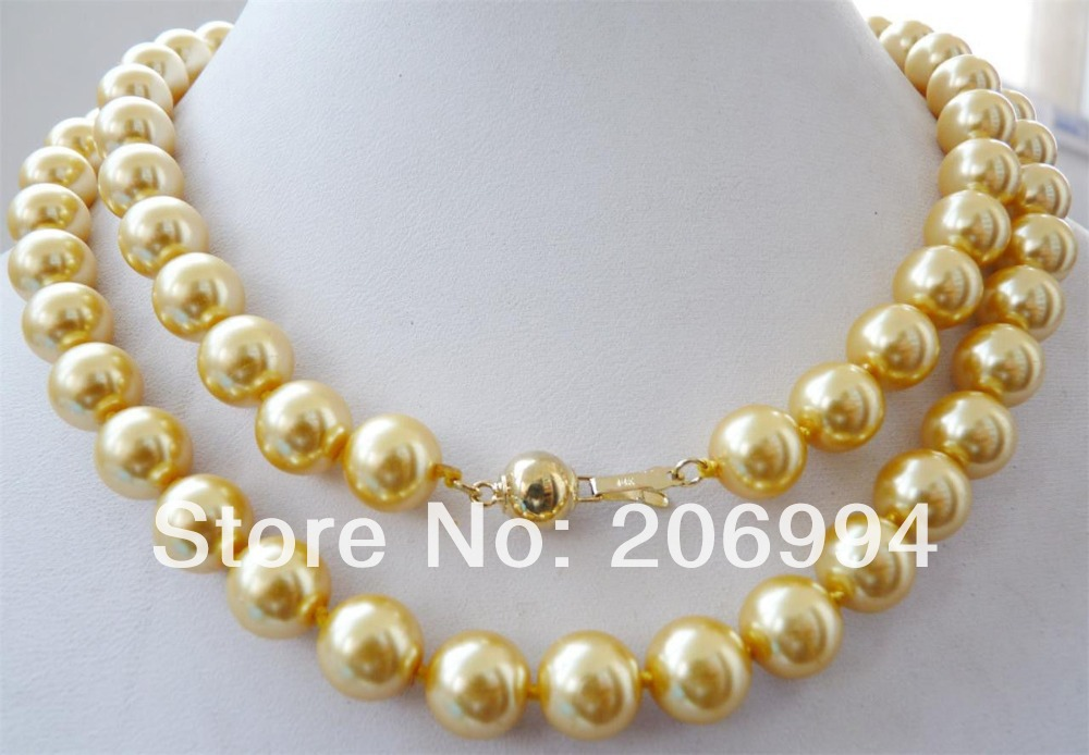 Wholesales designer 10mm yellow south sea shell pearl necklace 35
