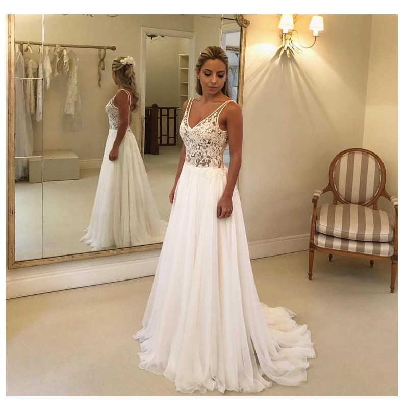 LORIE A Line Wedding Dress 2019 Open