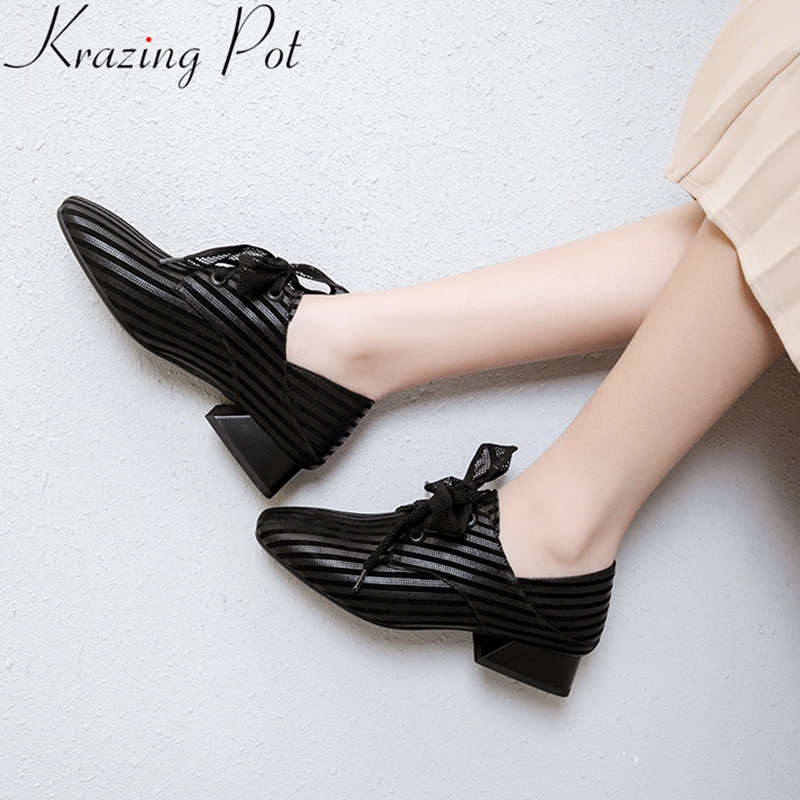 2019 new high quality big size genuine leather lace up med heels women pumps brand concise