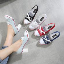 2019 Pumps Denim High Quality Shallow Mouth Women's Shoes High Heel 8CM Canvas Student Shoes Women New Board shoes size 34-41