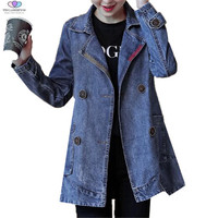 2018 Spring Autumn Women Long Sleeved Denim Jacket Women Double Breasted Jeans Coat Outerwear Loose Denim