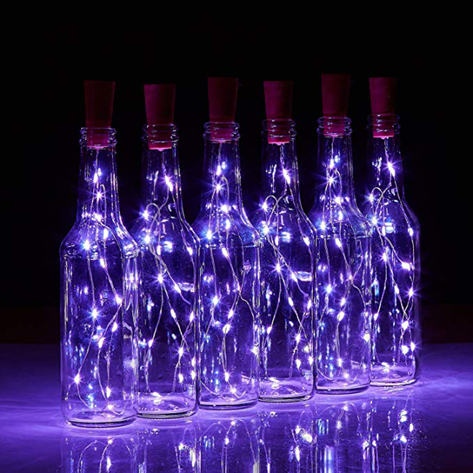 Wine Bottle Lights Cork Battery Powered Garland DIY Christmas Fairy String Lights For Party Halloween Wedding Holiday Decoration