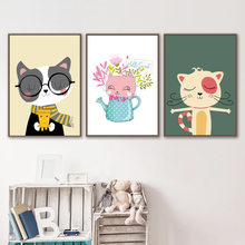 Cartoon Cat Flower Watering Pot Wall Art Canvas Painting Nordic Posters And Prints Animal Pictures Baby Girl Room Decor