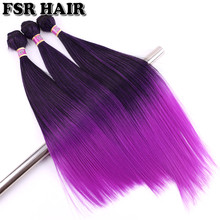 FSR Synthetic Hair weave Purple Ombre hair bundles Kinky Straight Yaki Weave 16 18 and 20 Inch 3 bundles/Lot(China)
