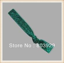 "Elástica Emerald Glitter Cabelo Ribbon Ties 5/8 ""Trecho Metallic Velvet Ribbon Laço de Cabelo Laço de Cabelo Das Mulheres"
