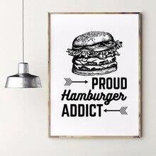 Póster Artístico impreso en lienzo con imagen de hamburguesa de orgullo, restaurante Vintage, tienda de hamburguesas, decoración de arte de la pared
