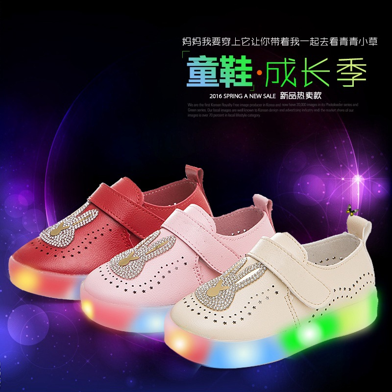 ee4b082ad New 2017 Children's Led Light Shoes Boys Girls Bright Glowing Sneakers  Fashion Child Babys Summer Rabbit Shoes Size 21 30 -in Sneakers from Mother  & Kids on ...