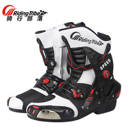 2017 Hot sale high quality Riding Tribe fashion motorcycle boots men speed road racing boats white black Red botas moto hombre