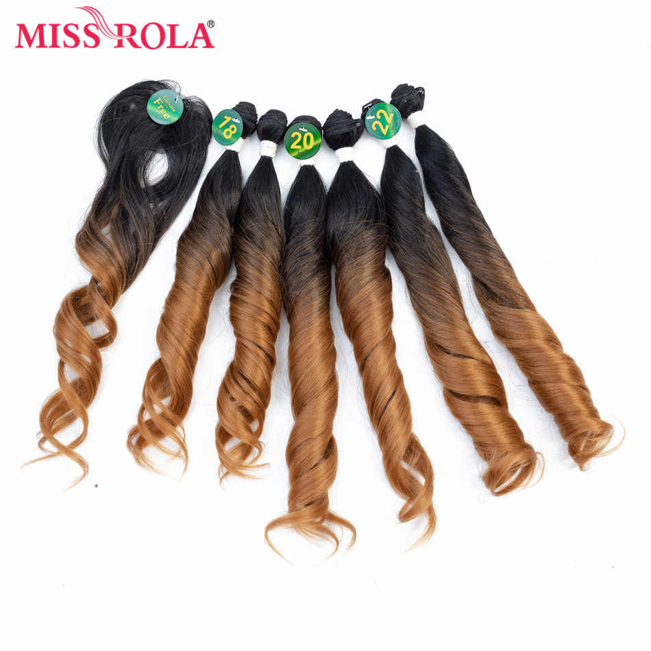 Miss Rola Ombre Wavy Hair Bundles Synthetic Hair Extensions Loose Wave Bundles 18-22 inch 6pcs One Pack Full Head Hair Weaves