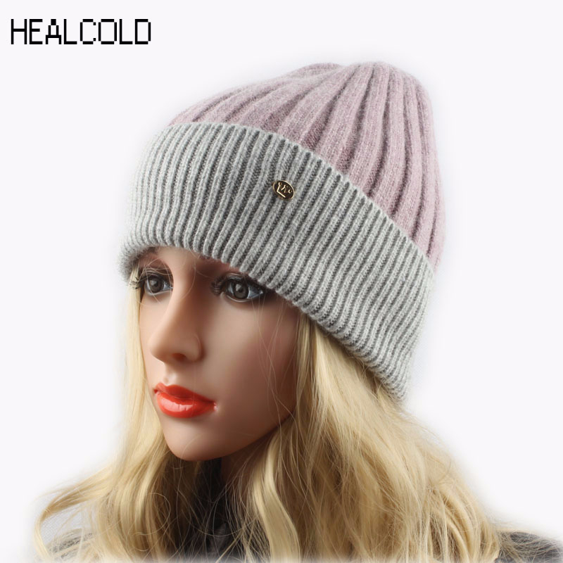 Top Quality Patchwork Knitted   Skullies     Beanies   Ladies Warm Soft Cashmere Wool   Beanie   Cap Spring Winter Hats For Women