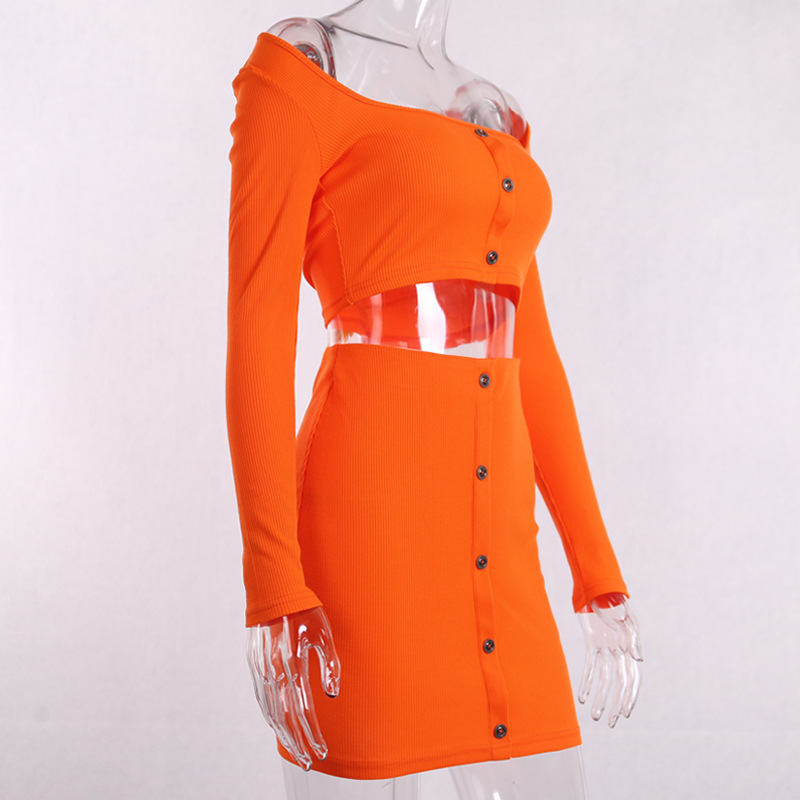 Cryptographic Fashion Outfits Bright Orange Women's Sets Buttons Long Sleeve Crop Tops Sexy Two Pieces Set Casual Bodycon Skirts 24