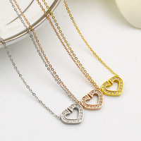 Vintage Open Heart Love Pendant Chains Low Price Christmas Gifts Three Gold Plated Crystal Rhinestone Necklaces