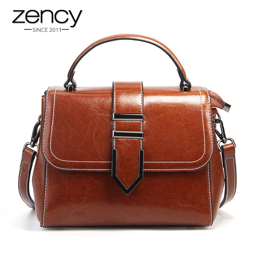 Zency Vintage Women Handbag 100% Genuine Leather Top-Handle Tote Bag Retro Brown High Quality Lady Crossbody Messenger Purse