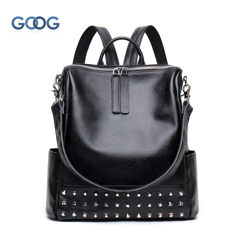Backpack female Korean version of the new leather personalized rivets cowhide bag fashion wild shoulder bag summer new women leather handbags shell bag shoulder bags first layer of cowhide korean version of the wild fashion handbags
