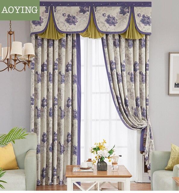 Modern Minimalist Fresh Printed Light Decoration Linen Semi Shade Stunning Light Purple Bedrooms Minimalist Decoration