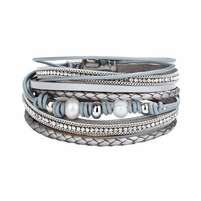 17 KM zielony kamień skórzana bransoletka dla mężczyzn kobiety w stylu Vintage wielu warstw symulowane perły akrylowe mankietów bransoletki Feminino biżuteria