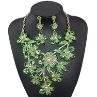 2017 New Africa Wedding Jewelry Sets Full Austrian Crystal Flower Shape Necklace Earrings For Women Bridal