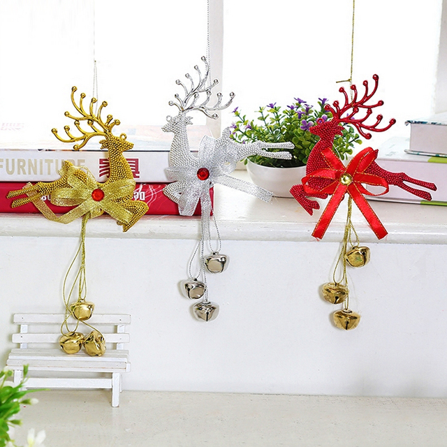 Christmas Jingle Bells Large Gold Silver Red Deer Jingle Bells New Large Christmas Bells Decorations