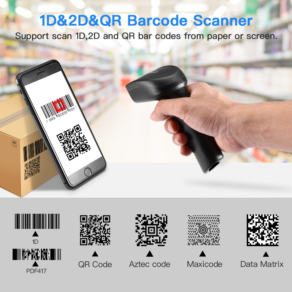Barcode Scanner Rechargeable-Battery Handheld 2D Prefix/suffix-Digits 1D QR with 2-In-1connection