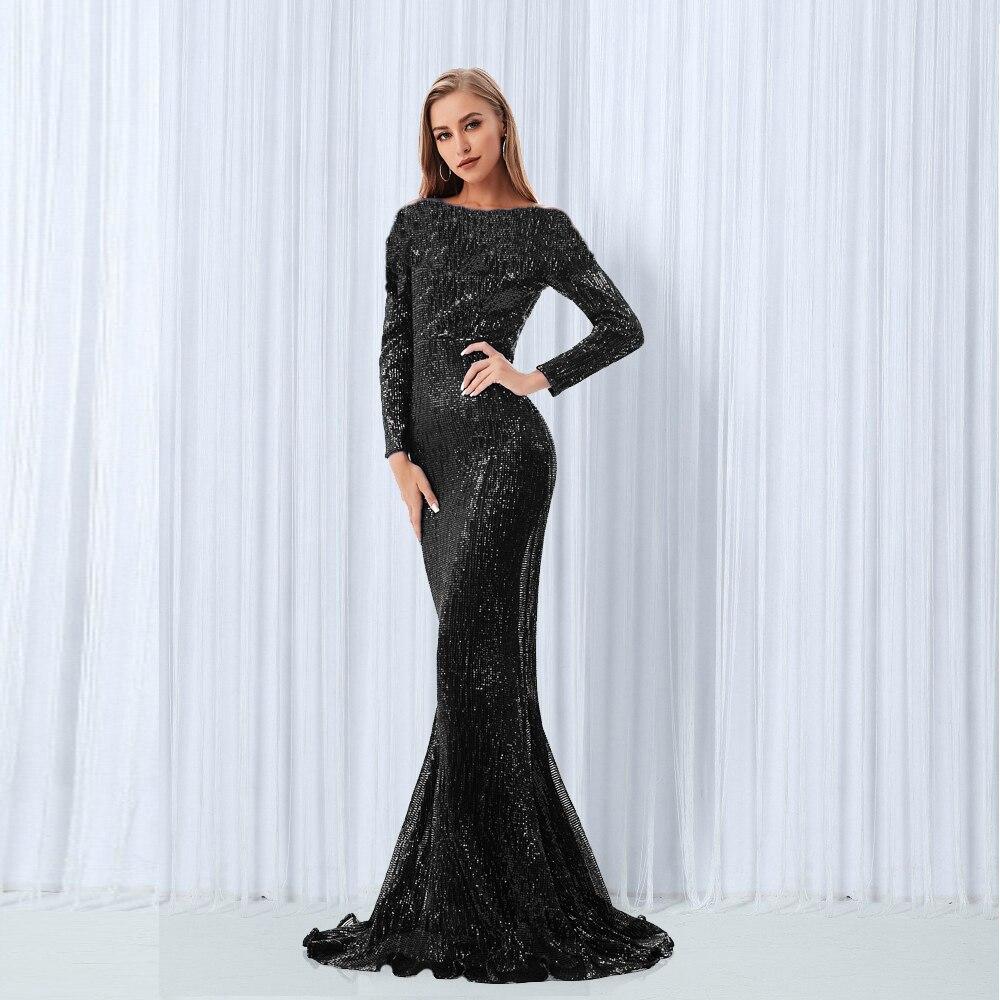 바닥 길이 오 넥 파티 드레스 가운 전체 소매 bodycon 블랙 스팽글 드레스 스트레치 나이트 롱 드레스-에서드레스부터 여성 의류 의  그룹 1