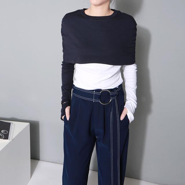 [XITAO] 2017 primavera Coréia moda das mulheres falso de duas peças de correspondência de cores de contraste manga longa O-pescoço T-shirt T-shirt fêmea LL103