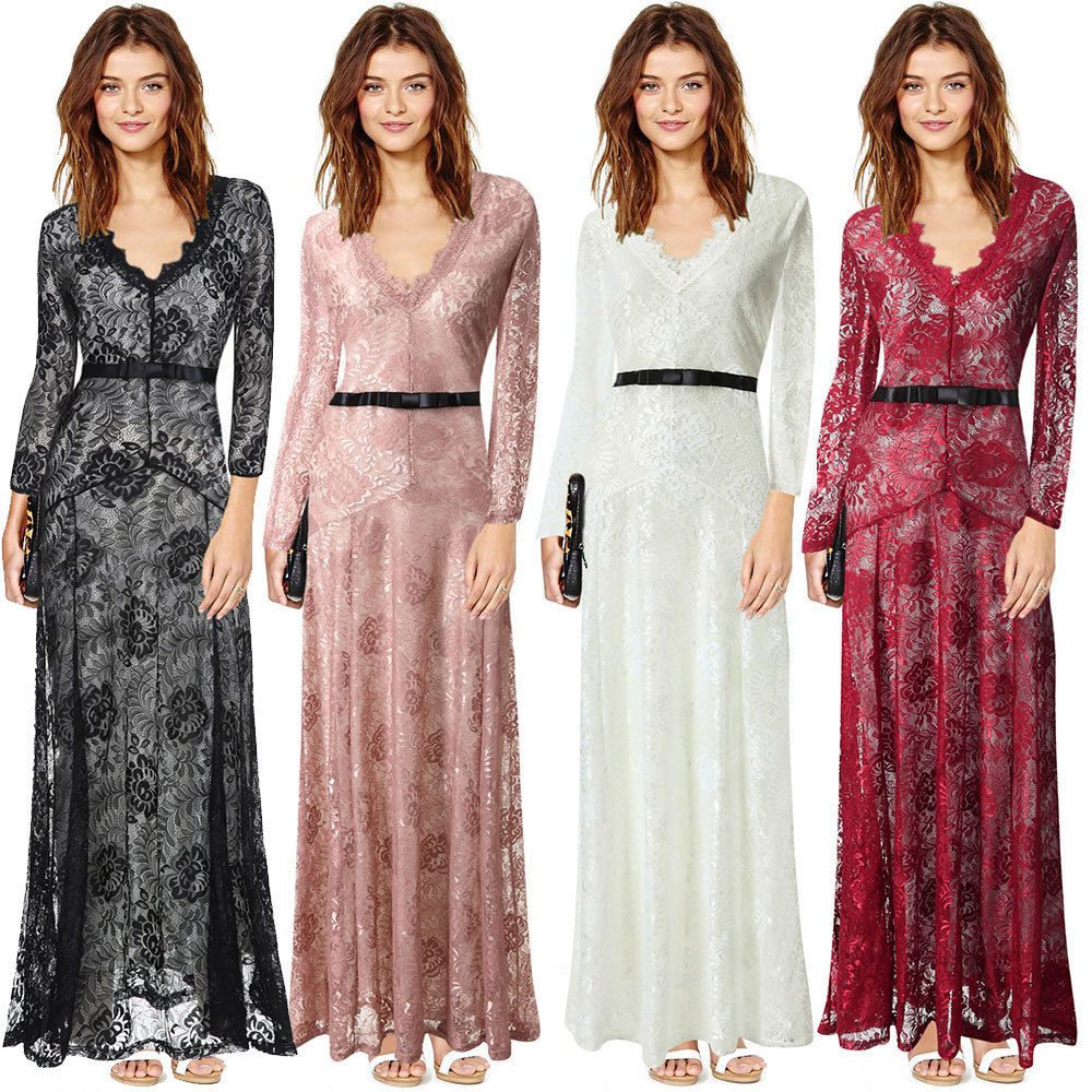 50efd7f840a 2015 Womens Summer Style Sexy Long Formal Party Elegant Lace Full Bodycon Maxi  Dresses Red Black White Pink