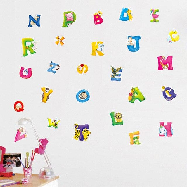 Cartoon Englisch Buchstaben für Dekoration Entfernbare Wandaufkleber ...
