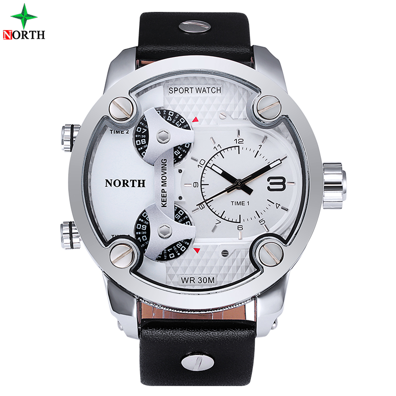 Men Sports Watches 2017 NORTH Brand Fashion Men's Quartz Hour Clock Man Leather Military Army Waterproof Wrist Watch Sport Men