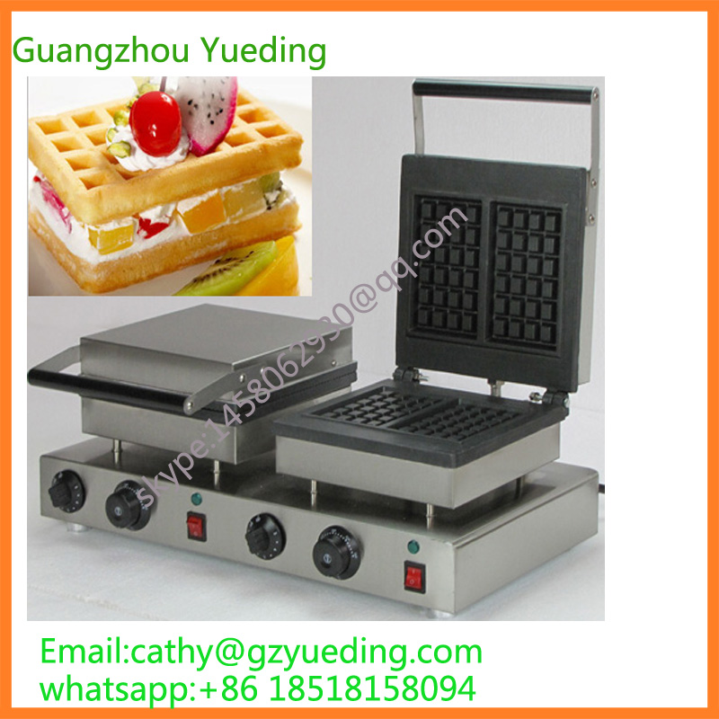 China directly factory price double 2 pieces rectangle waffle maker directly factory price commercial electric double head egg waffle maker for round waffle and rectangle waffle