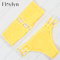 Floylyn 2018 New Wrinkled Bikini Cami Smocked Bikini Sets Sexy Low Waisted Strapless Swimsuit Pleated Summer