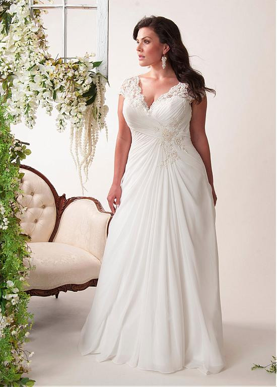 Romantic Beach Wedding Dress Plus Size Ruched Beading Bodice Chiffon