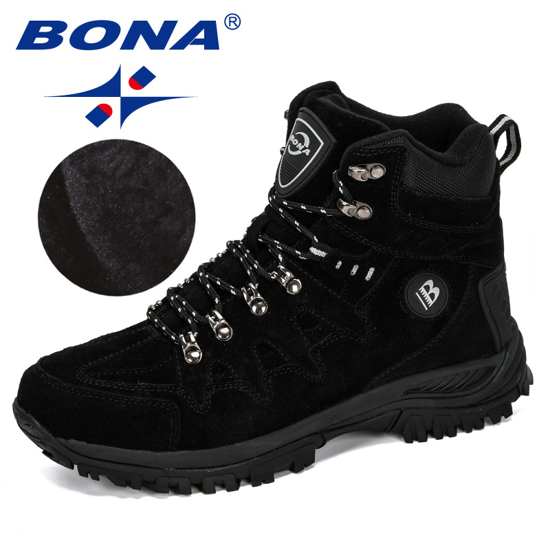 BONA 2019 New Designers Popular Style Suede Leather Men Boots Plush Snow Boots Winter Shoes Man Outdoor Boots Warm Footwear