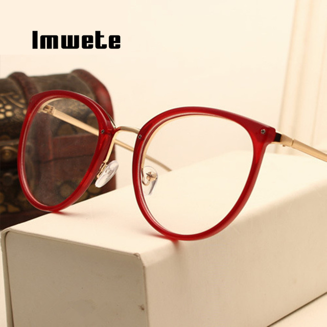 Imwete Optical Transparent Glasses Myopia Eyeglasses Frames Metal Spectacles Clear Lenses 1