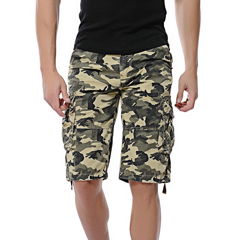 GEJIAN 2019 Summer Mens Loose Casual Shorts Men Button Pocket Overalls Plus Size Camouflage Mens Shorts Pantalones Cortos Hombre