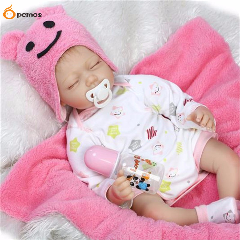 [PCMOS] 2017 New 22'' Handmade Lifelike Reborn Pink Hat Sleeping Baby Girls Doll Silicone Vinyl  Toy Collection 16071413