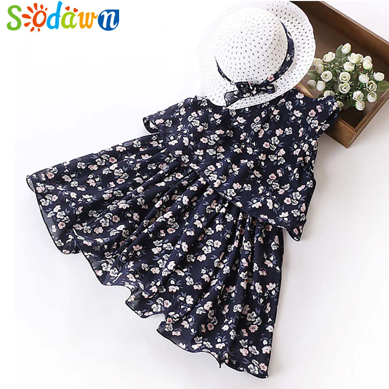Sodawn 2018 Girls Dress Summer New Fashion Sweet Sleeveless Chiffon Clothes For Girls Flower Print Princess Dress Kids Clohting sweet round collar flower and leaves print sleeveless dress for women