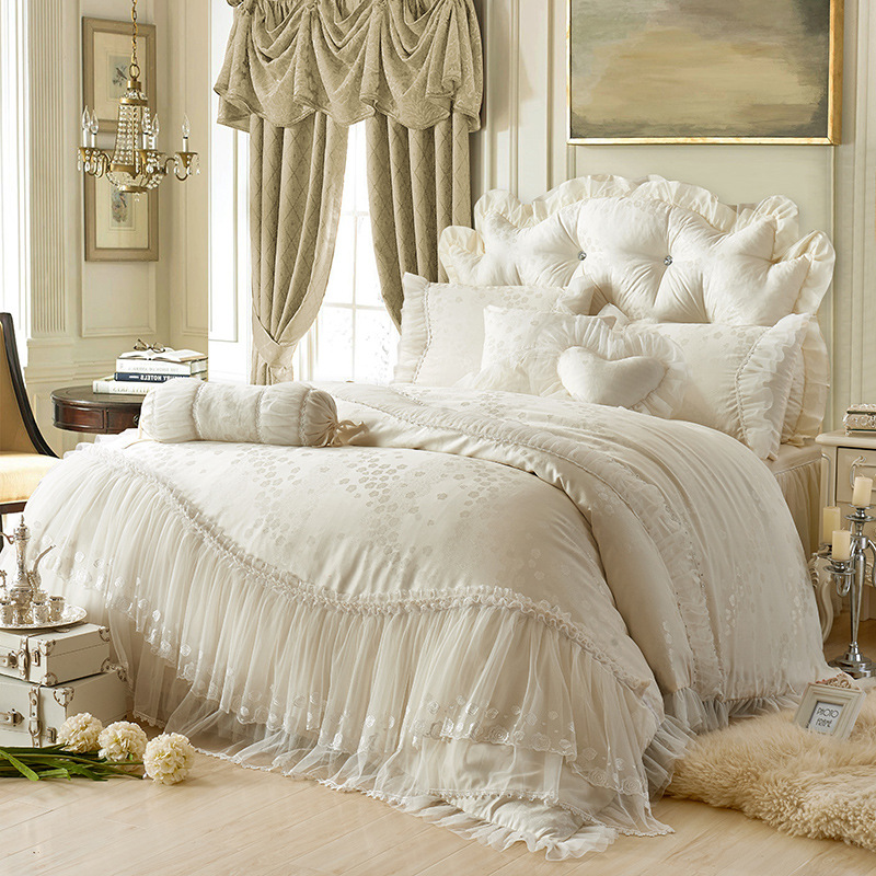 Pink White Lace Rose wedding bedding sets,Luxury Silk duvet cover,bed linen,ropa de cama Satin embroidered jacquard home textile