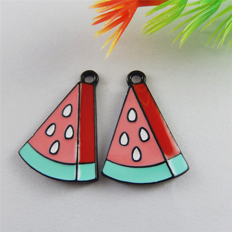 Best Selling 5PCS Colorful Small Enamel Colorful Watermelon Charms Decoration Phone Finding Handmade Crafts Accessory 51853 image