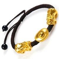 Новый Чистый 999 24 K желтое золото 17*9 мм 3D Bless Pixiu & Lucky Ingot мужской и женский тонкий плетеный браслет