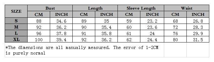 衣服尺码表1