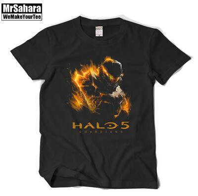 The game T-shirt The guardian HALO5 Sergeant long halo With short sleeves Pure cotton Round collar T-shirt Men and women