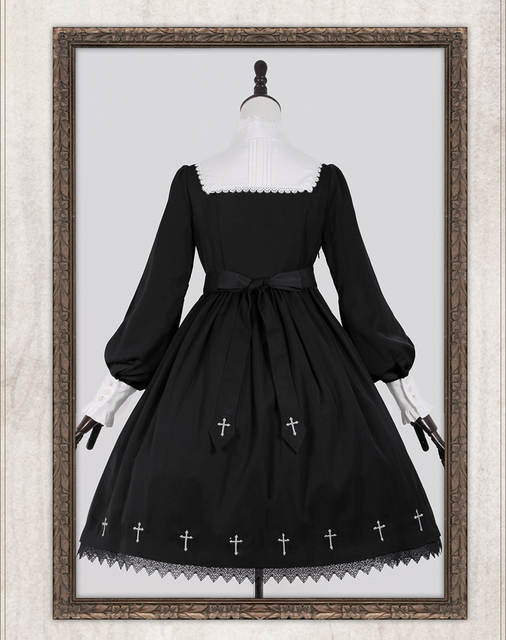 9925d8c05af placeholder Anonymous Verse Cross Embroidery Gothic Lolita OP Dress  Darkness Style Long Sleeve High Collar Cute Black