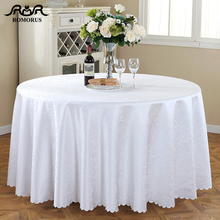 Round Tablecloth Jacquard White Wedding Table Cloth Polyester Birthday Party Covers Dining Tablecloths Tafelkleed