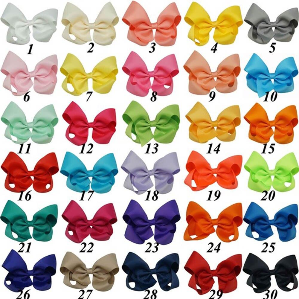 30 pçs/set 4 Polegada HairBows Fita de Gorgorão Sólido Arco de Cabelo Com Clipe Meninas Boutique Handmade Hairpin Para Crianças Acessórios Para o Cabelo