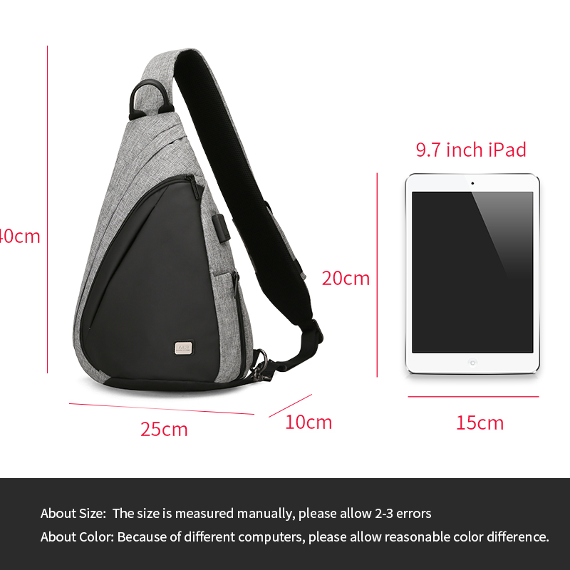USB Recharging Chest Sling Bag - Multi-functional Shoulder Bag 2