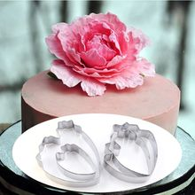 4pcs/set Peony Flower Cookie Cutter Set 3D Sugarcraft Fondant Cake Pastry Biscuit Baking Mold DIY Cake Decorating Tools
